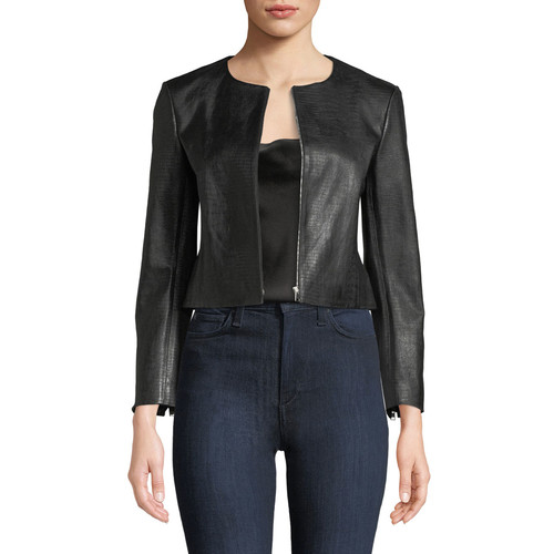 Zip-Front Washed Leather Jacket