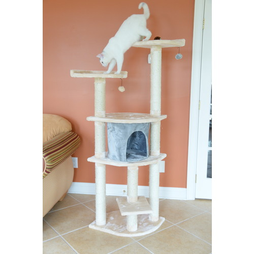 Armarkat Cat tree Furniture Condo, Height- 60-Inch to 70-Inch [Blanched Almond]