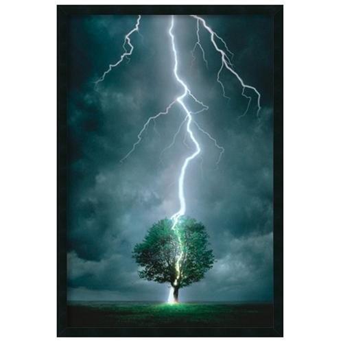 Lightning Striking Tree' Gel-Textured Art Print