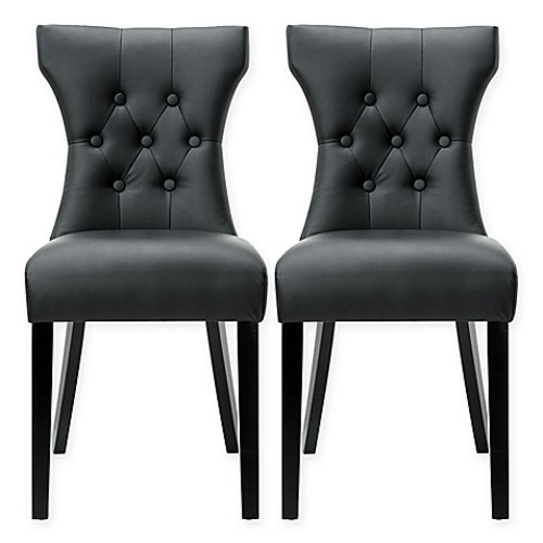 Modway Silhouette Dining Side Chairs in Black (Set of 2)