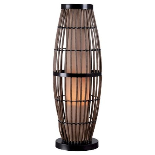Kenroy Home 32247RAT Biscayne Outdoor Table Lamp, Rattan Finish with Bronze Accents [Tan]