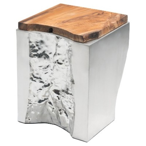 Modern Square Teak Wood Side Table - Natural, Stainless Steel - Zm Home