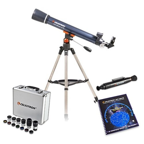 Celestron Astromaster LT 70AZ Telescope Bundle w/ Eyepiece kit, Skymaps & Lenspen