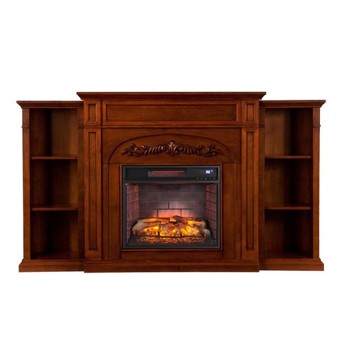 Southern Enterprises Binghamton 72.5 in W Bookcase Infrared Electric Fireplace in Autumn Oak