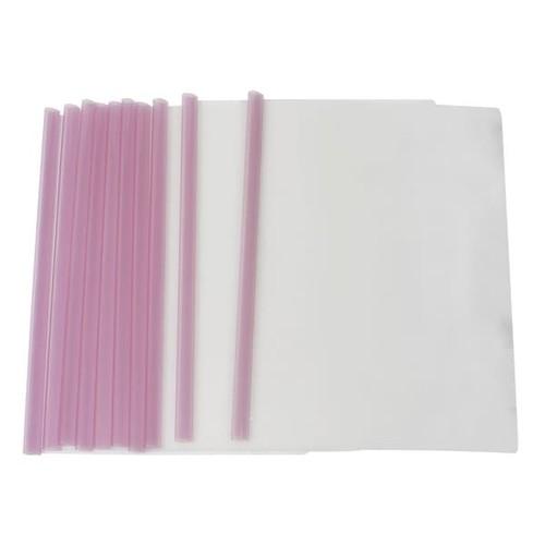 Unique Bargains Clear Sliding Light Purple Bar Office A4 Size File Folder Organizer 10 Pcs