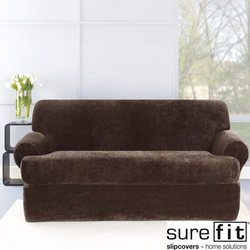 Sure Fit Stretch Plush Chocolate T-Cushion Loveseat Slipcover