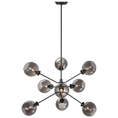 9-Light Atom Pendant, Gray
