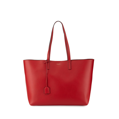 SAINT LAURENT Large Shopping Tote Bag, Red/Black