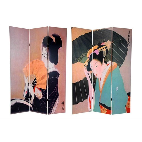 Oriental Furniture 3-Panel Double Sided Geisha Room Divider