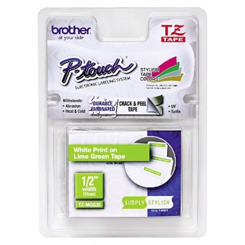Brother P - Touch TZ Standard Adhesive Laminated Labeling Tape - 1/2 x 16.4 ft. - White/Lime Green