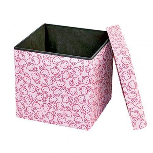 Dar Living Hello Kitty Storage Ottoman, Peach Pink, 14.5x14.5 Inches