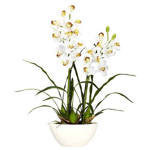 Nearly Natural 30 in. H White Cymbidium with White Vase Silk Flower Arrangement