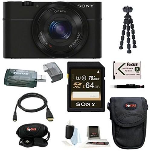 Sony Cyber-shot DSC-RX100 Digital Camera (Black) with 64GB Deluxe Accessory Bundle