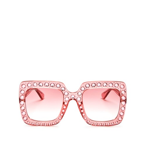 GUCCI Embellished Oversized Square Sunglasses, 53Mm