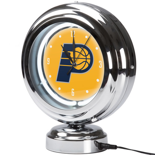 Indiana Pacers NBA Chrome Retro Style Tabletop Neon Clock
