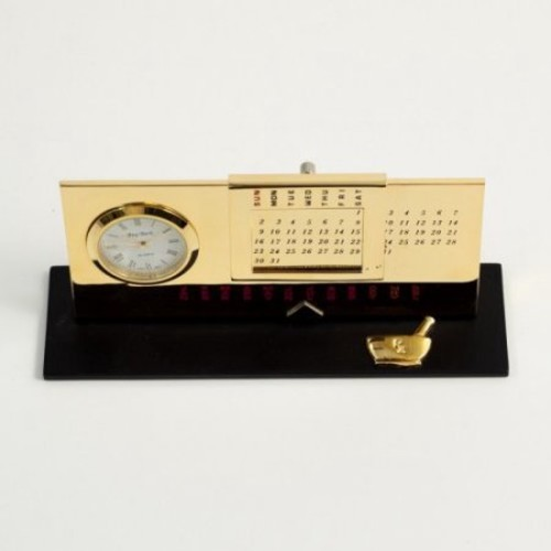 Bey-Berk International Pharmacy Perpetual Calendar with Clock - Gold Plated