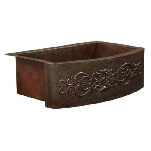SINKOLOGY Donatello Farmhouse Apron Front 42 in. Single Bowl Copper Kitchen Sink Bow Front Scroll Design