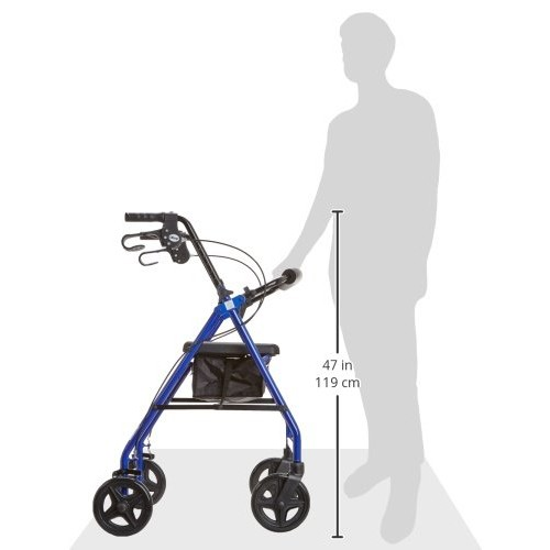 Drive Medical Rollator Walker with Fold Up and Removable Back Support and Padded Seat, Blue [Blue]