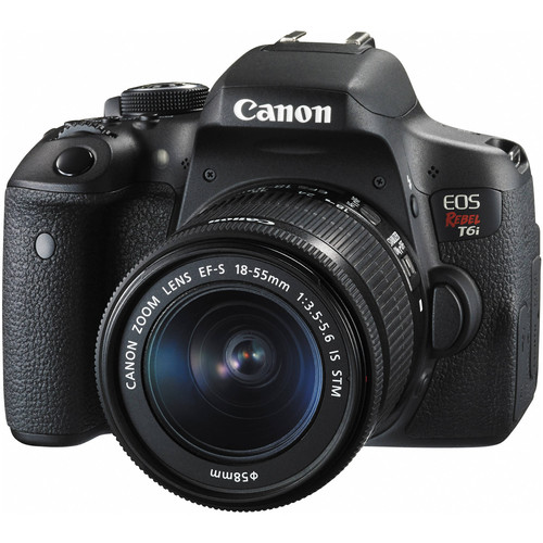 Canon 0591C003-kit-97469 EOS Rebel T6i Wi-Fi Camera + EF-S 18-55 IS STM Lens + 75-300 Lens + 64GB + Case + Flash + Batt/Charger