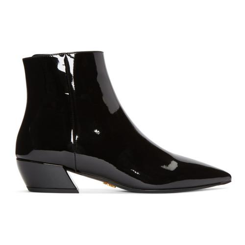 PRADA Black Patent Pointed Boots