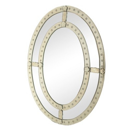 Oval Decorative Wall Mirror Antique Silver - Go Home