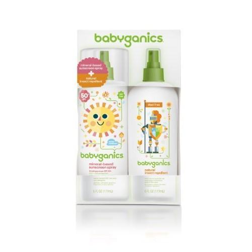 Babyganics Mineral-Based Baby Sunscreen Spray SPF 50, 6oz Spray Bottle + Natural Insect Repellent 6oz Spray Bottle Combo Pack