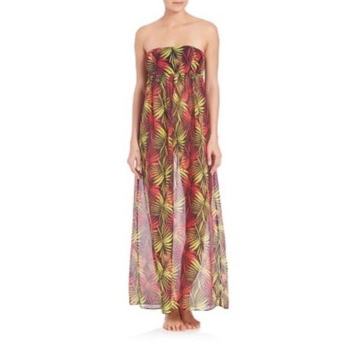 MILLY Palm Print Vedetta Cotton & Silk Smocked Dress