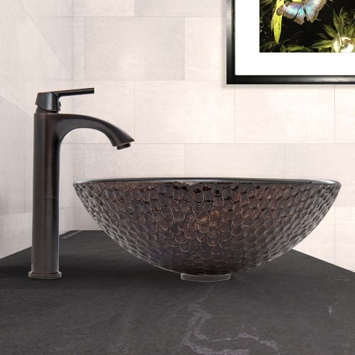 VIGO Glass Vessel Sink in Copper Shield and Linus Faucet Set in Antique Rubbed Bronze