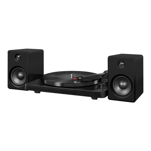Victrola ITUT-420 Black Modern Record Player with Bluetooth, 50 watt Speakers and 3 Speed Turntable, Black
