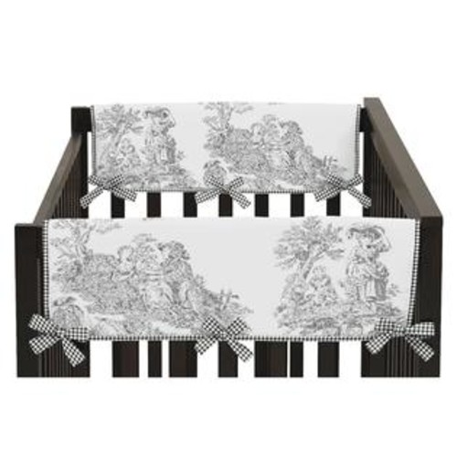 Sweet Jojo Designs Black French Toile Collection Side Crib Rail Guard Covers (Set of 2)