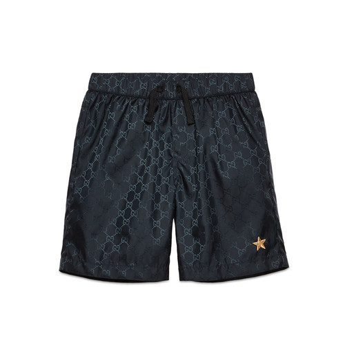GUCCI Nylon Gg-Print Swim Trunks, Navy, Size 4-12