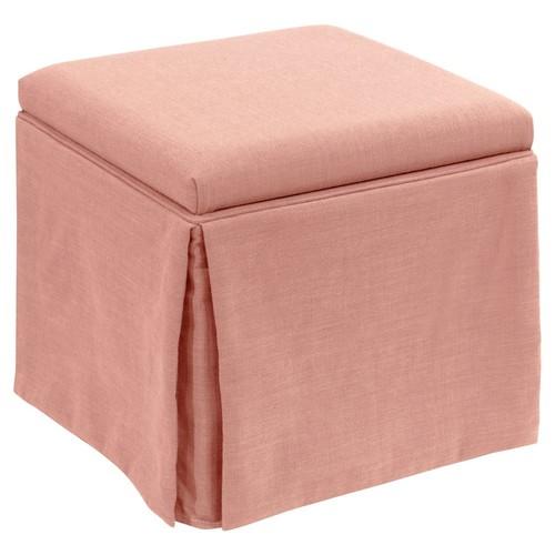 Anne Skirted Storage Ottoman, Pink Linen
