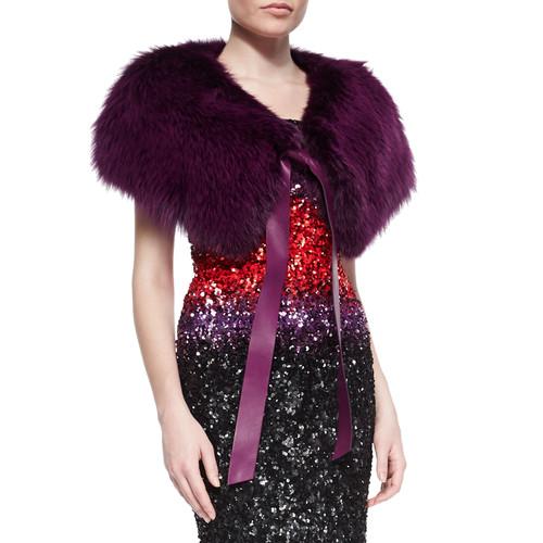 Fox Fur Stole w/ Leather Tie