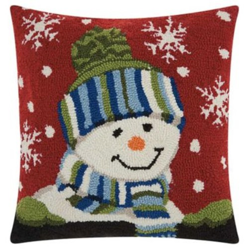 Mina Victory Little Snowman Square Throw Pillow in Red/White