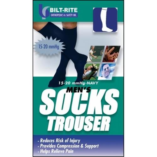 Bilt-Rite Mastex Health 10-71100-MD-2 15-20 mm. Hg Mens Trouser Socks, Black - Medium