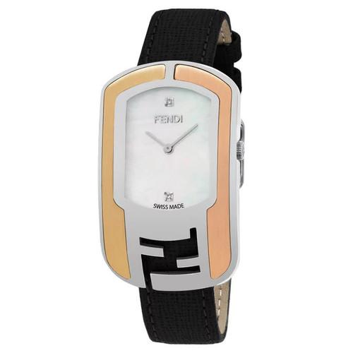 Fendi Women's F303734511D1 'Chameleon' Mother of Pearl Diamond Dial Black Leather Strap Swiss Automatic Watch - Women's