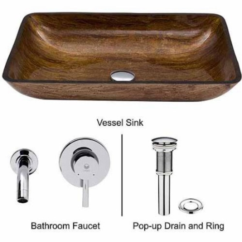 VIGO Rectangular Amber Sunset Glass Vessel Sink and Wall Mount Faucet Set in Chrome