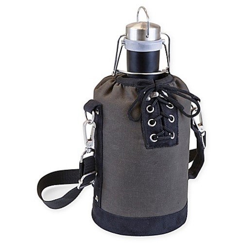 Picnic Time Growler Tote with 64 oz. Stainless Steel Growler in Matte Black/Grey