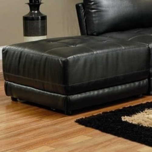 Bonded Leather Square Tufted Ottoman