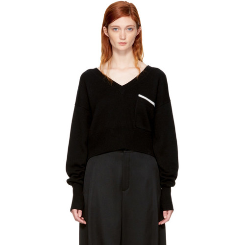 CHLOÉ Black Pocket V-Neck Sweater