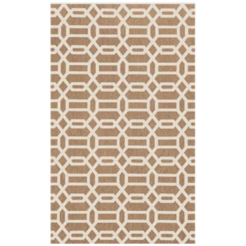 Ruggable Washable Fretwork Rich Tan 3 ft. x 5 ft. Stain Resistant Accent Rug
