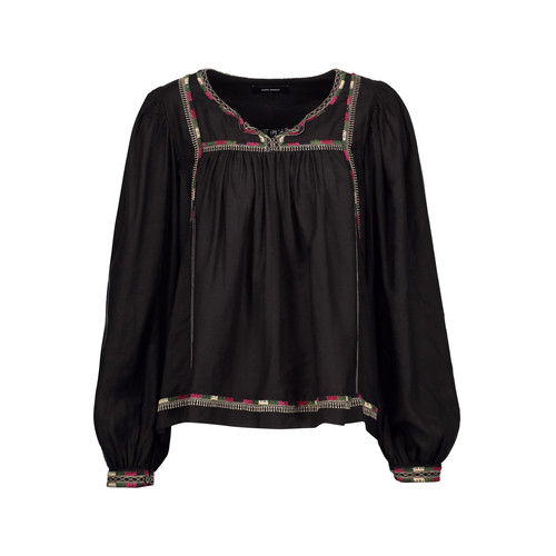 CHAZ GATHERED EMBROIDERED SILK BLOUSE