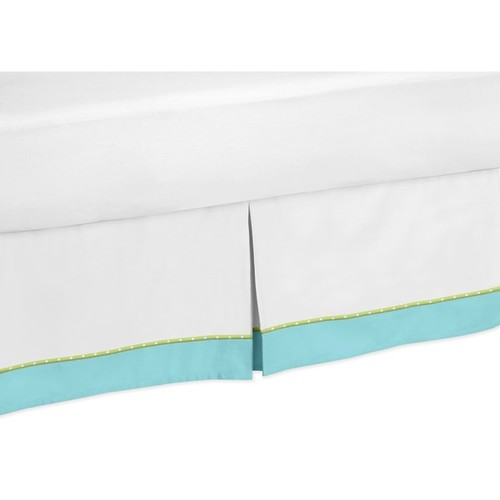 Sweet Jojo Designs Turquoise and Lime Hooty Toddler Bedskirt