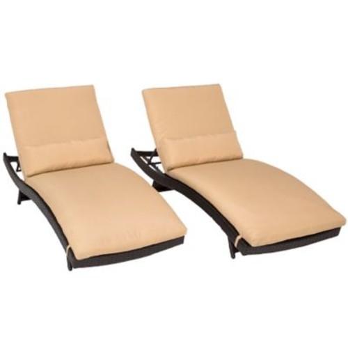 TK Classics Bali Chaise Lounge w/ Cushion (Set of 2); Sesame