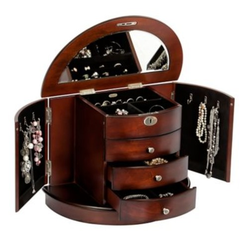 Mele & Co. York Locking Wooden Jewelry Box in Dark Walnut Finish