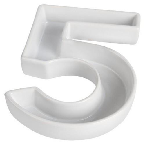 White Ceramic Number Dish - 6