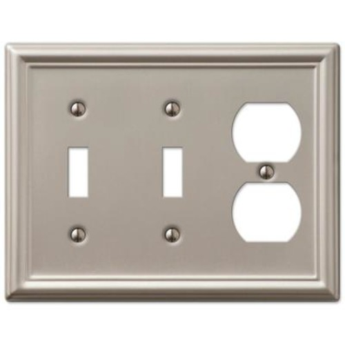 Amerelle Chelsea 2 Toggle and 1 Duplex Wall Plate - Brushed Nickel