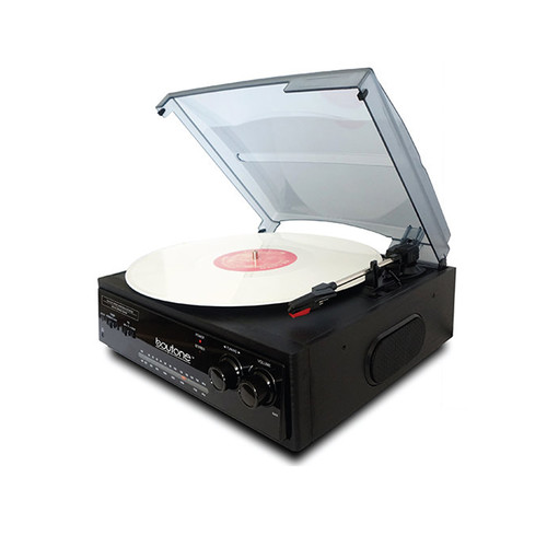 Boytone 97096689M Home 3 Speed Turntable System with 3.5mm Headphone Jack, AUX and RCA Jack