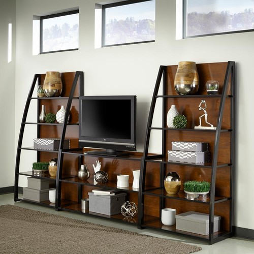 Home Styles Aero Cherry and Black 3 Piece Entertainment Center