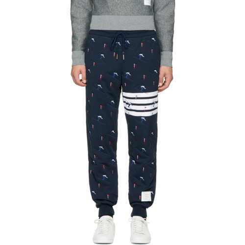 THOM BROWNE Navy Classic Four Bar Skier Lounge Pants
